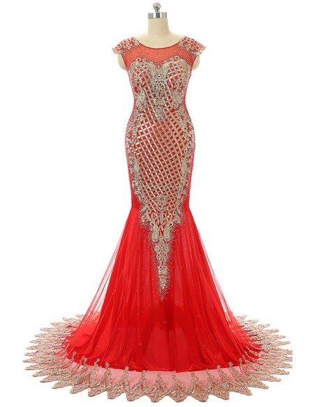 Red Mermaid Scoop Sweep-train Prom Dress with Beading