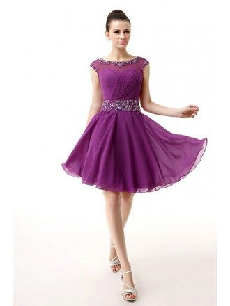 A-Line Scoop Neck Short Chiffon Prom Dress With Beading