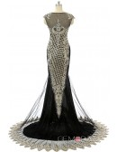 Black Mermaid Scoop Sweep-train Prom Dress with Beading