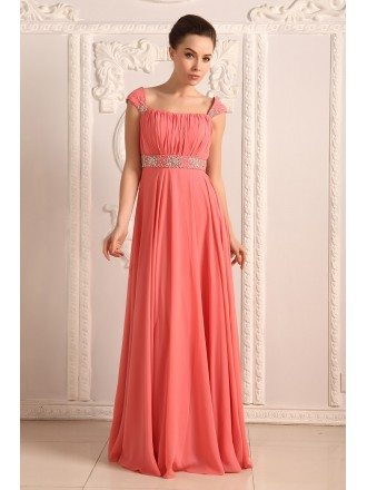 Empire Strapless Floor-length Chiffon Prom Dress With Beading