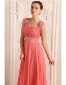 Empire Strapless Floor-length Chiffon Prom Dress With Beading