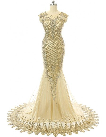 Champagne Mermaid Scoop Sweep-train Prom Dress with Beading