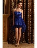A-line Strapless Satin Asymmetrical Prom Dress With Beading