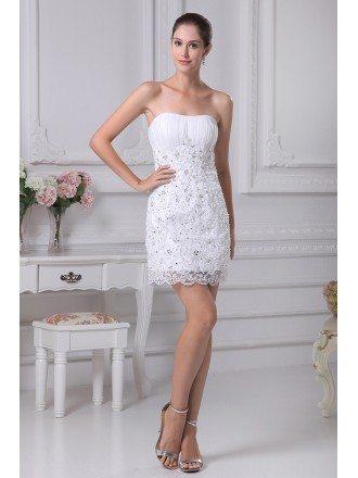 Sheath Strapless Short Satin Lace Wedding Dress With Beading