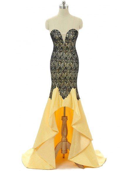 Mermaid Sweetheart Sweep-train Asymmetrical Prom Dress with Beading