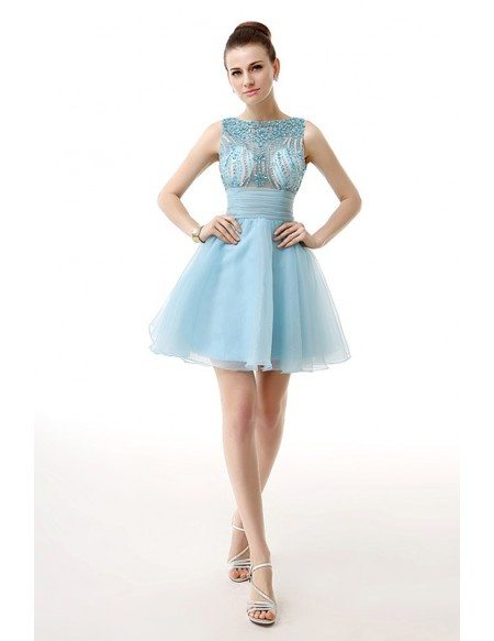 A-Line Scoop Neck Short Organza Prom Dress With Appliquer Lace