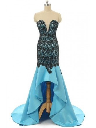Ocean-blue Mermaid Sweetheart Sweep-train Asymmetrical Prom Dress with Beading