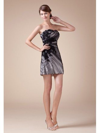 Sheath Sweetheart Short Tulle Cocktail Dress With Appliques Lace