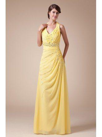 A-line Halter Floor-length Chiffon Prom Dress With Beading