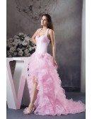 Mermaid Halter Sweep Train Satin Tulle Prom Dress With Cascading Ruffle