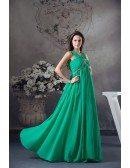 Empire V-neck Floor-length Chiffon Prom Dress With Beading