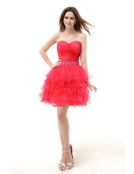 A-Line Sweetheart Short Tulle Prom Dress With Beading Cascading Ruffles