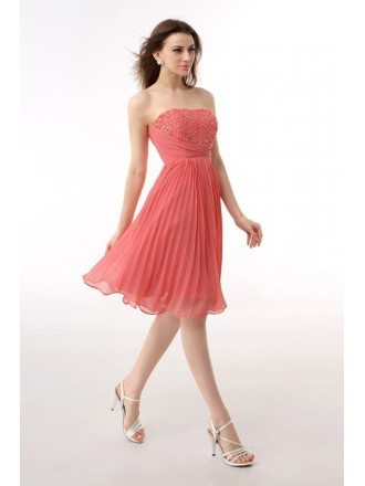 A-Line Strapless Short Chiffon Prom Dress With Beading Ruffles