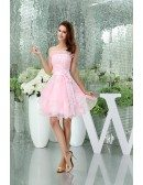 A-line Strapless Short Tulle Homecoming Dress With Appliques Lace