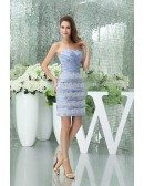 Sheath Sweetheart Short Satin Lace Mother of the Bride Dress