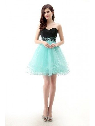 Short/Mini Strapless Sweetheart Puffy Two-Tone Tulle Bridesmaid Dress