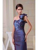 Sheath One-shoulder Ankle-length Taffeta Evening Dress