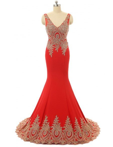 Red Mermaid V-neck Sweep-train Prom Dress with Beading
