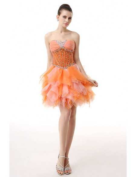 A-Line Sweetheart Short Chiffon Prom Dress With Beading Cascading Ruffles