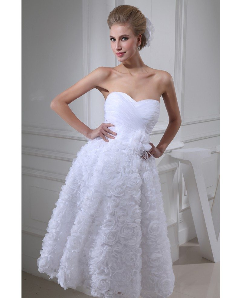 Discount A Line Wedding Dresses New Strapless Flower: Strapless Tea Length Wedding Dresses A Line Tulle Style