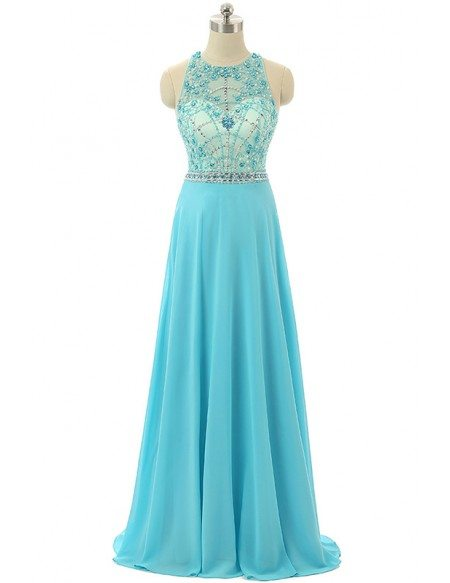 A-line Halter Sweep-train Prom Dress with Beading
