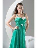 A-line Sweetheart Sweep Train Chiffon Satin Prom Dress