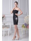 Little Black Sexy Strapless Cocktail Ruffled Beaded Bridesmaid Dress