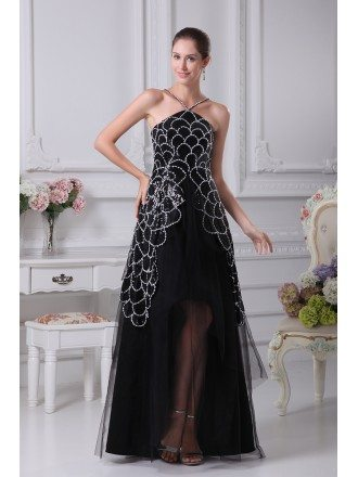 Unique Butterfly Pattern Black and White Tulle Party Dress with Beading