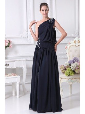 One Shoulder Navy Blue Chiffon Long Beaded Bridal Party Dress with Corset Back