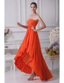 Simple Strapless Beaded Orange Prom Dress Short in Front Long in Back