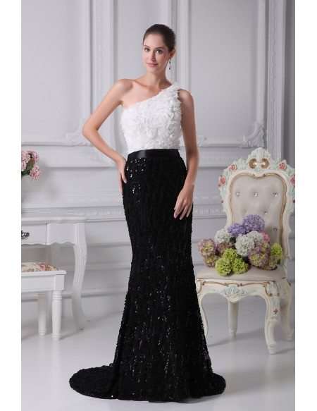 Black and White Sexy Mermaid Flowers Bridal Dress in One Shoulder