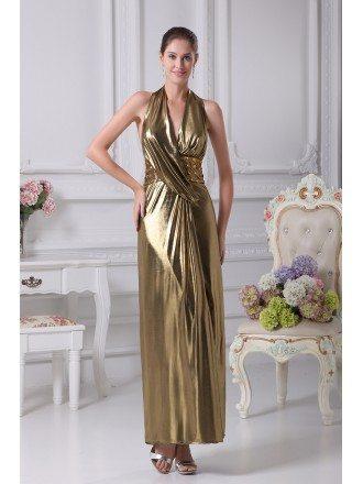 Shinning Long Halter Beaded Slim Gold Formal Dress in Open Back