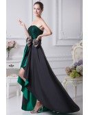 Black and Hunter Green Strapless Lace Bow Wedding Dress in Short Front Long Back