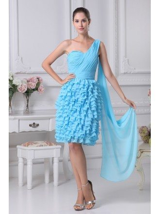 Layered Blue Knee Length Folded Bridal Party Dress in One Shoulder