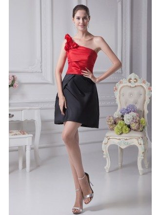 Simple Black and Red One Shoulder Taffeta Bridesmaid Dress in Cocktail Length