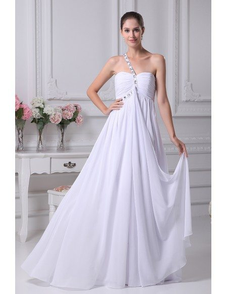 Plain White Pleated Chiffon Bridal Dress with One Beaded Strap