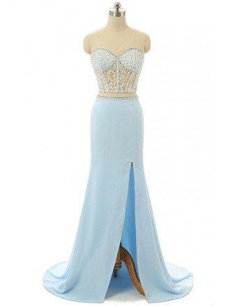 Sky-blue A-line Sweet-heart Sweep-train Asymmetrical Prom Dress with Beading