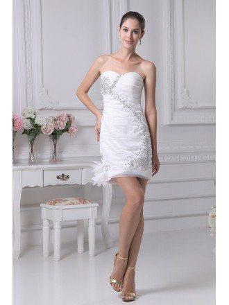 Strapless Simple Ruffled Beading Tight Wedding Dress in Short