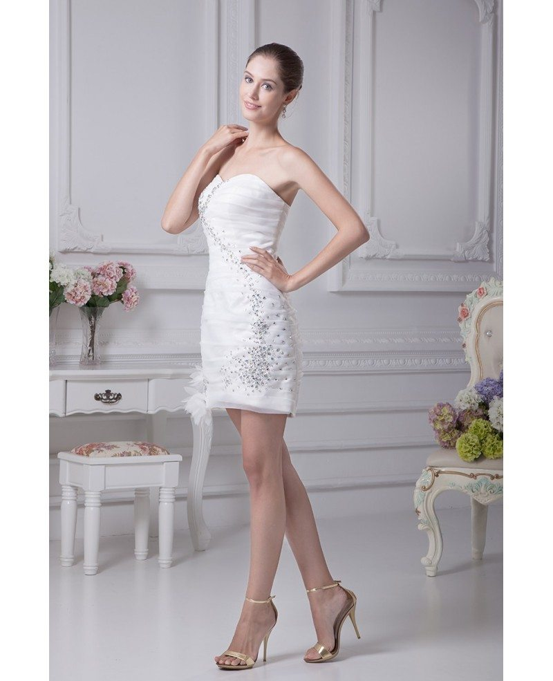 Little White Short Wedding Dresses Fitted Strapless Simple