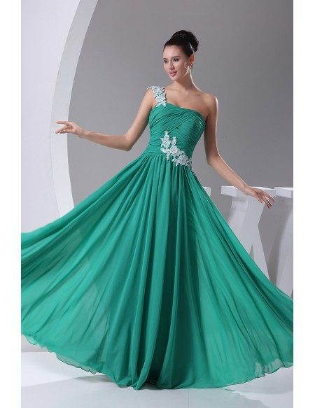 Green with White Lace One Shoulder Pleated Bridal Party Dress in Chiffon