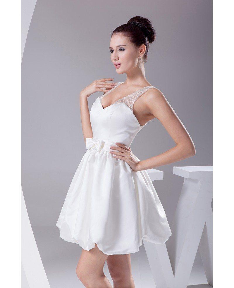 Simple Short Wedding Dresses Sweetheart Backless White