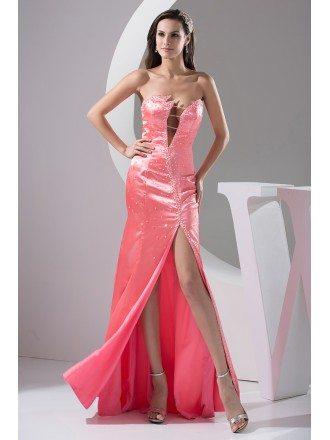 A-line Sweetheart Floor-length Satin Evening Dress With Beading