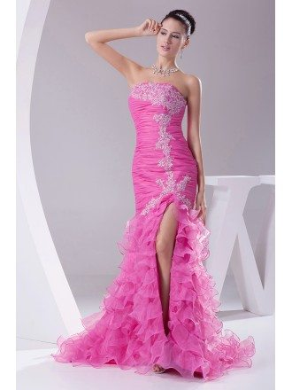 Strapless Lace Fuchsia Organza Cascading Prom Dress with Split Front