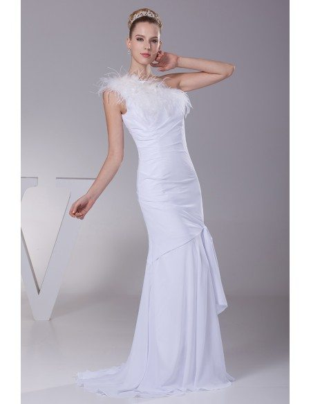 Different One Shoulder Tight Wedding Dress with Feathers