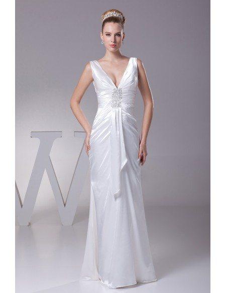 Simple Deep V Satin Beading Bridal Dress Without Train