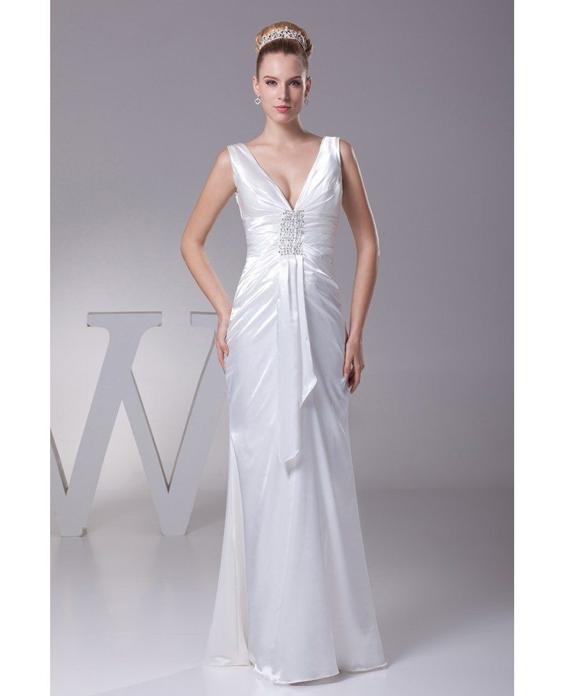 Simple Deep V Satin Beading Bridal Dress Without Train