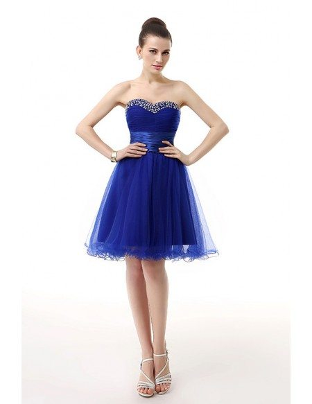 A-Line Sweetheart Short Tulle Prom Dress With Beading Ruffles