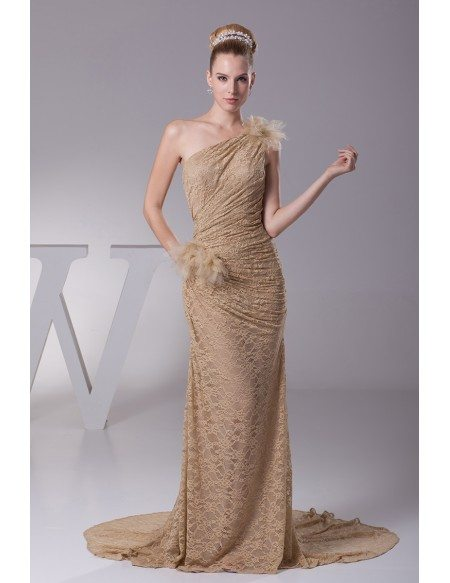 Elegant Lace Pleated Mermaid Train Brown Wedding Dress in One Shoulder