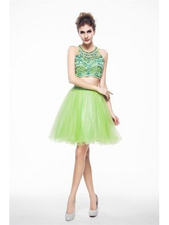 Sage Two-Pieces Halter Short Tulle Prom Dress With Beading