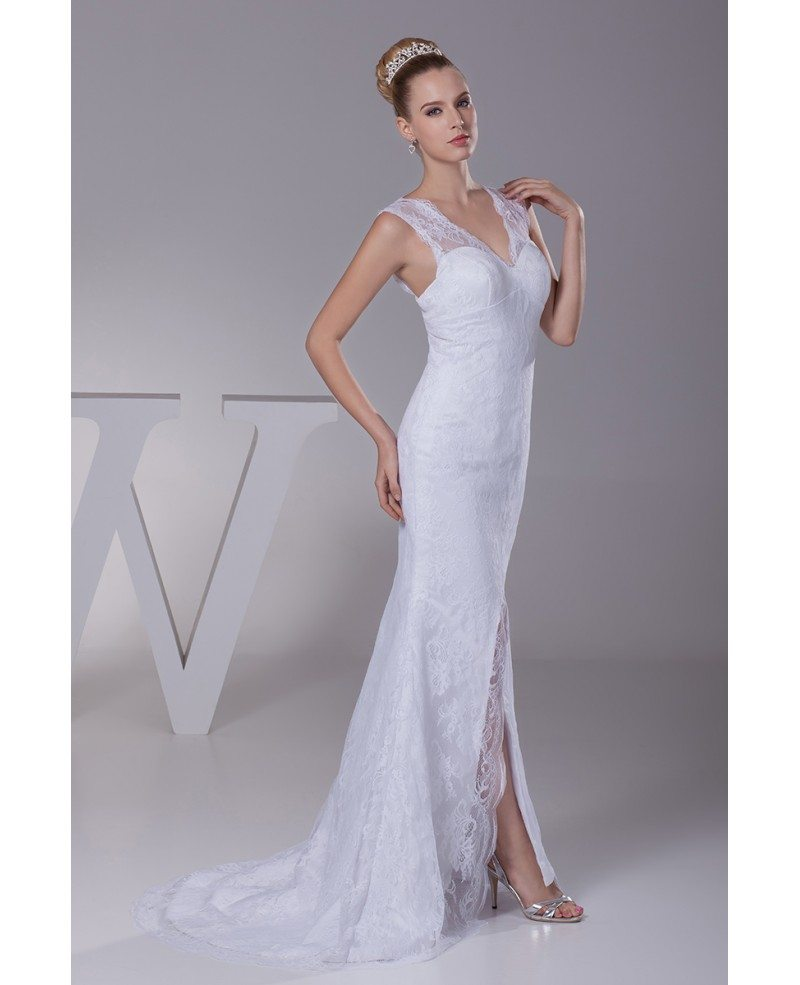 All Lace Wedding Dress: Split Front All Lace Sexy Tight Fit And Flare Wedding